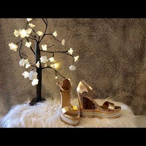 Metallic Gold & Rose Gold wedge heel